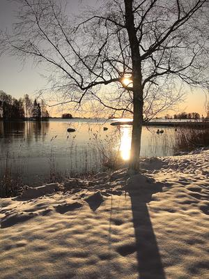 Månadens sista dag blev förmodligen den vackraste. Bilden är tagen vid Hjälmaren, Lunger, av Kerstin Malmström.