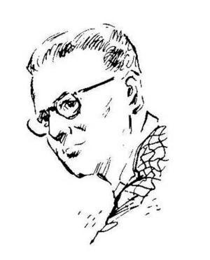 Arthur C. Clarke porträtterad i tidningen Amazing Stories 1953.