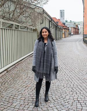 När Melanie promenerar i Västerås tittar hon en hel del på husens arkitektur.