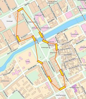 Området innanför de röda linjerna är avstängt för trafik. Några busslinjer får tillfälliga hållplatser på Nygatan, se bild längre ner.  Illustration: Gävle kommun