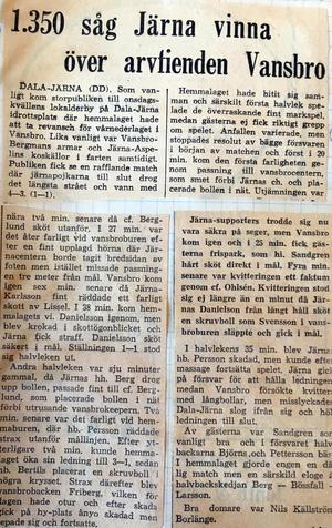 Faksimil från Dala-Demokraten 15/8 1956.
