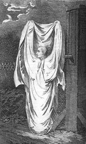 En gengångare. Gravyr från 1804 av okänd konstnär.