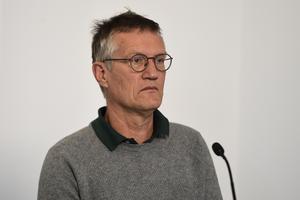 Anders Tegnell, statsepidemiolog, Folkhälsomyndigheten, vid myndigheternas dagliga pressträff på måndagen.