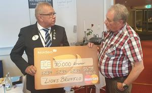 Rolf Rastbäck (till höger) överlämnade checken på 70 000 kr till Pär Oremo. Foto: Anders Molander