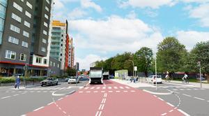 Så här är det tänkt att det ska se ut på Rudbecksgatan är BRT-systemet får egna körfält. Grafik: Anders Lind, Örebro kommun