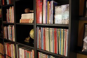 Att läsa för sin son är något som Zandra verkligen prioriterar.  I bostaden finns en stor samling böcker.
