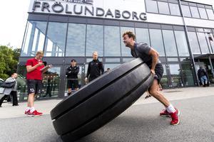 Ponthus Westerholm under en träning med Frölunda i juni 2017. Foto: Bildbyrån