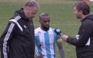 Swesoms lagkapten Isak Ahmed intervjuades av Sporten efter livesända Veckans match.