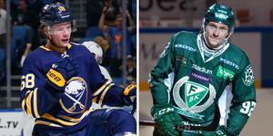 Två bröder som gör mål i varsin liga. Victor Olofsson har fått en raketstart på sin NHL-karriär med Buffalo och i SHL ska storebror Jesper försöka ta ytterligare kliv i Färjestads dress den här säsongen. Bild: TT