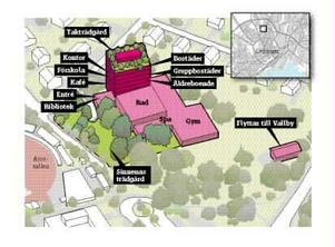 Badtorn. Kristiansborgsbadet byggs ut med såväl bostäder som kontor och förskola samt trädgård på taket enligt Västerås-alliansens förslag.