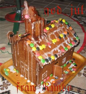 Passade julkort. 2005 års misslyckade pepparkakshus blev ett fint julkort till mina syskon.