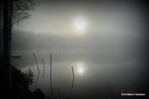 Soluppgång i oktober 2015 över dimmigt vatten. En morgon som får naturen att visa sig från sin bästa sida. Att då få gå ut och fotografera i alla möjliga och halvt omöjliga vinklar det är underbart. Solen speglar sig i den blanka vattenytan. En halvtimme efter det att jag fotat minskade dimman och färgerna kom fram. Fotograferat i färg fast det ser ut att vara i svart vitt.