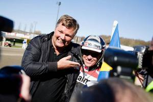 Tränaren Stefan Hultman och kusken Örjan Kihlström kunde glädja sig åt en ny framgång för Triton Sund i Oslo. Bilden tagen vid segern i Olympiatravet tidigare i vår.