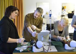 Madelene Dahlström, Magnus Frank och Emma Karlsson övar på att ta blodprov i en ven på en konstgjord arm. De går på vuxenutbildningens vård och omsorgsutbildning och kan nästa höst söka jobb som undersköterskor.