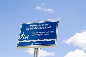 Skylten med glada nyheter för hundar och hundägare. Södra Björnöbadet är denna sommar öppet för hundar.