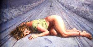 Anders Stimmers klassiskt utförda målningar är fyllda av symbolik och mörka undertoner. Här en del av ett av hans verk.