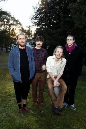 Hannes Franck, Isak Hedtjärn, Are Engen Steinsholm och Sasha Marko bildar tillsammans jazzbandet Kolibri. I kväll spelar de i teaterfoajén.
