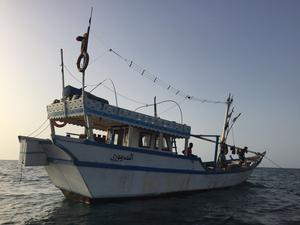 Fiskebåten de befann sig på i över 50 timmar.