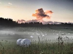Augusti: Landrök över Örjans ängar. Böle, Offerdal.