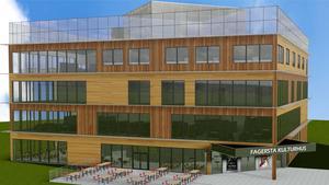 Skissen på det planerade kulturhusets fasad.