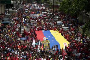 Regeringsanhängare demonstrerar i Venezuela