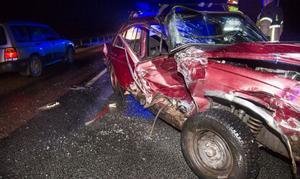 Så här såg en av bilarna ut i den olycka, Anders Bagge var inblandad i.