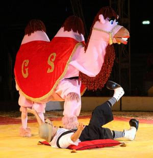 Den är kamelen är låtsas, enligt samstämmiga publikuppgifter. För riktiga kameler är bruna.