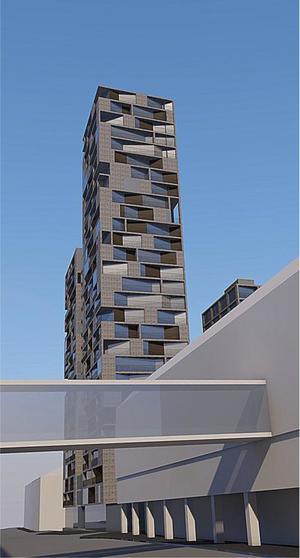 På parkeringen vid gamla polishuset, intill Nygatan mellan Jovisgatan och Gästgivaregatan, vill fastighetsägaren uppföra ett hus med fyra höga torn, ett i vardera hörn av byggnaden.