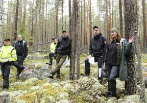 Från Stora Enso Skog ser vi från vänster Sven Eriksson, Johan Hermansson, Lars-Erik Eriksson, Henrik Johansson, Per Norström och längst till höger Veronica Jägbrant, Skogsstyrelsen som diskuterar naturvärden och skötsel i tallbeståndet.
