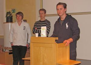 Niklas Sund, Calle Årjes och Johan Larsson har företaget Hälsokross UF tillsammans.