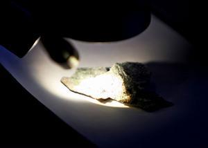 I mikroskåpet kan man se de små aggressiva asbestfibrerna.