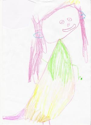 En glad och lycklig prinsessa - ritat av Anna Dunne, 4½ år.