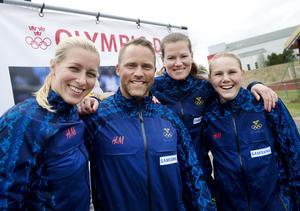 Hockeyspelaren Danijela Rundqvist, skicrossåkaren Lars Lewén, skytten Nathalie Larsson och längdskidåkaren Anna Olsson.