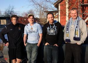 Marcus Norgren, Mattias Viberg, Andreas Fahlgren och Pär Eriksson är alla fyra supportrar till Manchester City. När vulkanutbrottet på Island förstörde deras planerade flygresa till England tog de bilen istället.