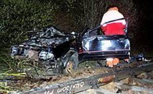 Foto: MATHIAS FORSLÖFKrasch. En personbil körde sent i går kväll med hög fart av Furuviksvägen, voltade och landade på järnvägsspåret. Kort senare kom tåget och rammade bilen. Personerna i bilen hann sätta sig i säkerhet, däremot blev en hund kvar i vraket. Den skadades svårt.