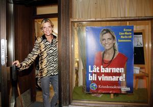 Liza-Maria Norlin (KD) väntar på valresultatet.