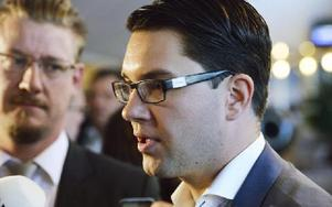 Sverigedemokraternas partiledare Jimmie Åkesson är beredd att tona ned invandringsfrågan enligt en intervju. Foto: HENRIK MONTGOMERY / TT
