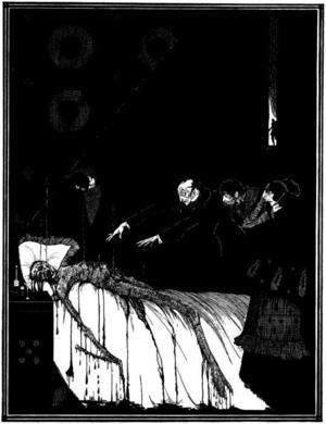 Harry Clarkes illustration till Edgar Allan Poes skräckinjagande och groteska novell