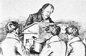 Den tyske filosofen Friedrich Hegel med sina studenter (som inte förstod honom). Litografi av Franz Kugler från 1828.