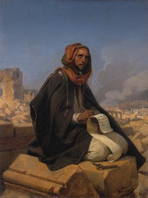 Jeremia bland Jerusalems ruiner. Målning av Horace Vernet från 1844.