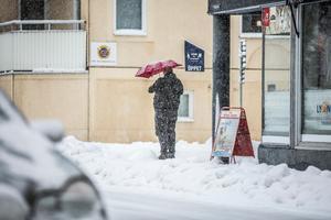 Ibland räcker det inte med varma kläder, vid sådana här snöväder kan ett paraply vara bra som skydd.