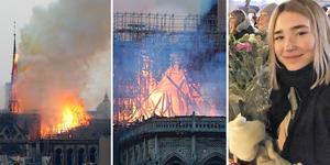 Julia Pietrzak Rådström befinner sig i Paris där hon ser  Notre-Dame brinna. Foto: TT/Arkivbild