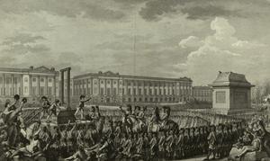Ludvig XVI halshuggs  den 21 januari 1793. Gravyr av Charles Monnet från 1794.