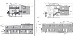 Till vänster ses skiss från det gamla bygglovet och till höger ses motsvarande skiss i det nya bygglovet där en loftgång och en ytterdörr tagits bort. Skiss: Södertälje kommun