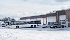 Dalatrafiks bussdepå i Malung där Felix Söderberg blev inlåst.  Foto. Berit Djuse