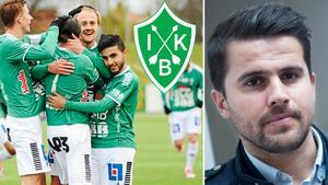 Till vänster: Brage måljublar. Till höger: Dalkurds sportchef Adil Kizil. Bild: Kristian Bågefeldt/TT Nyhetsbyrån.