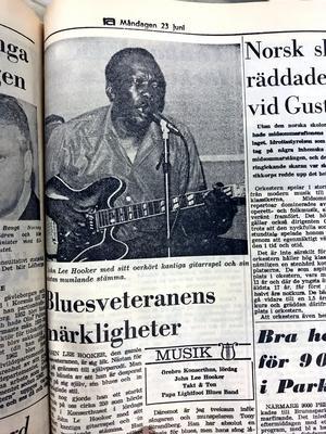 Ur NA 23 juni 1969: Världsartisten John Lee Hooker hade varit på besök i Örebro konserthus, och NA recenserade konserten.