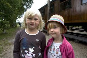 """UNGA TÅGENTUSIASTER. Femåriga Jennifer Jonsson och hennes tremänning Amalthea Ocklund, fyra år, gillar att åka tåg. """"Allra roligast var att stå längst bak på tåget och vinka till morfar"""", säger Jennifer."""