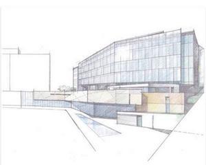 Skissen av Rimbo nya skola. Kulturscenen döljer sig bakom glasfasaden som vetter mot Ekdalsvägen.