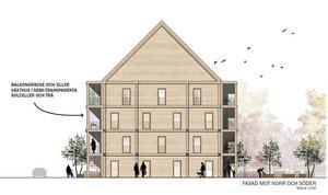 ETC-husets fasad mot norr och söder. Det är ritat av arkitekt Hans Eek och arkitektfirman Kjellgren & Kaminsky.